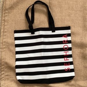 Sephora Black & White Striped Canvas Tote